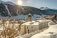 View at Davos Platz in Winter, Grisons, Switzerland | Stadtansicht von Davos Platz im Winter, Graubünden, Schweiz.