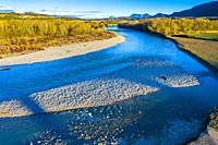 Riverbed in a natural landscape. Aragon river close to Yesa reservoir. Aerial view. Zaragoza, Aragon,Spain, Europe.