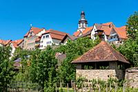 Cityscape with historic city wall and St Martin church, Gochsheim, Baden-Wurttemberg, Germany, Europe.