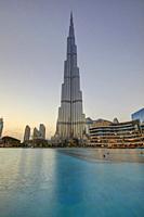 Burj Khalifa at sunset, Dubai, United Arab Emirates.