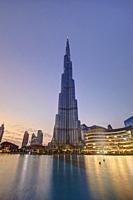 Burj Khalifa led illumination at dusk, Dubai, United Arab Emirates.