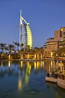 Burj Al Arab hotel at dusk, Dubai, United Arab Emirates (UAE).