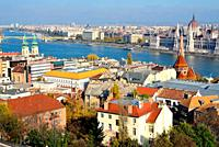 View of the Pest area and Danube river from the Fisherman's Bastion of Budapest, Hungary.