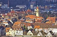 Aerial view over Stuttgart, Baden-Wurttemberg, Germany.