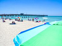 Fishing Pier and Brohard Park Beach on the Gulf of Mexico in Venice Florida in the United States.