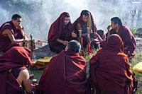 Monks at Lhasa Drepung Monastery Shoton festival or Shodon Festival with the unrolling of the huge thangka, a silk painting depicting Buddha Lhasa Tib...