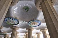 Mosaic decorations at Parc Güell by Antoni Gaudí Barcelona Catalonia, Spain.