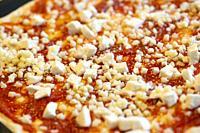 Mozzarella Cheese whit Tomato Sauce on Homemade Rustic Pizza. . .