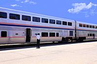 Amtrak train service at Tucson station AZ on its way to El Paso, San Antonio or Houston and on to New Orleans.