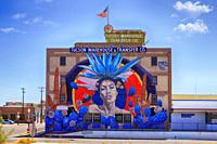Famous giant mural on the side of the Tucson Warehouse & Transfer Co building in the arts district of Tucson AZ.