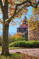 Parts of the old fortification wall with the Dicker Turm of Esslingen Castle, Esslingen, Germany.