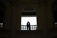 Shadow of a couple at history museum,Singapore,Asia.