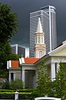 Telok Ayer Chinese Methodist Church (1889), Fraser's tower office building in background.