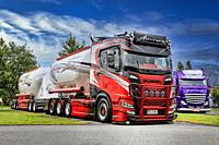 Kuljetus Auvinen Oy super trucks, category winner Scania R580 bulk transporter with Lowrider. Power Truck Show 2019. Alaharma, Finland. August 9, 2019...