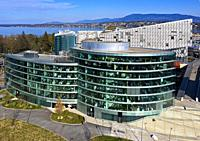 New buildings in the Secheron district in front of Lake Geneva, in front Maison de la paix, headquarters of the Graduate Institute of International an...