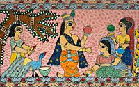 Mural painting the Madhubani style ( Bihar, India). The Madhubani ( or Mithila) style of painting is an art form practiced in northern india and south...