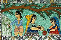 Mural painting the Madhubani painting ( Bihar, India). The Madhubani ( or Mithila) style of painting is an art form from northern India and southern N...