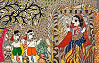 Mural painting the Madhubani style ( Bihar, India). It is representing a sati ( a widow sacrifice by sitting atop the deceased husband´s funeral pyre)...