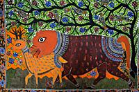 Madhbani painting ( Bihar, India). The Madhubani ( or Mithila) style of painting is an art form practiced in northern India and southern Nepal.