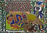 Madhubani painting representing hindu mythology ( Bihar, India). The Madhubani ( or Mithila) style of painting is an art form practiced in northern In...