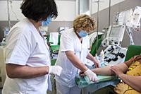 Italy, Pavia, San Matteo hospital, plasma donation center.