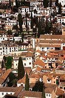 View of Albaicín neighborhood from the Alcazaba of Alhambra. Granada.