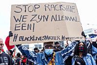 Rotterdam, Netherlands. Black Lives Mstter Demonstration at Down Town Erasmusbrug, to Protest against Police Violence & Racism, Triggered by the Dead ...