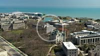 EVANSTON, IL - APRIL 3, 2020: On a normally busy school day, an aerial view shows the campus of Northwestern University shut down due to the COVID-19 ...