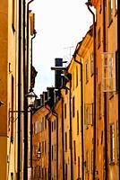 Low angle view of old buildings in Gamla Stan, the Old Medieval Town of Stockholm.