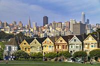 Painted Ladies and San Francisco Downtown, California, USA.