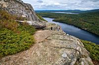 Weathered Granite and Scenic View from Beech Mountain Trail in Acadia National Park on Mount Desert Island, Maine.