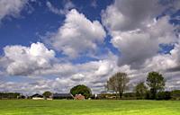 Landscape with farm buildings under large white clouds near the Dutch village Bornerbroeknear Bornerbroek.