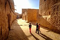 Children in a small village in southern Morocco near Mhamid. Morocco, North Africa.