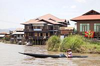 Houses on stilts, In Phaw Khone village, Inle lake, state of Shan, Myanmar, Asia.