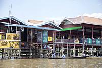 Restaurant on stilts, In Phaw Khone village, Inle lake, state of Shan, Myanmar, Asia.