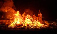 The hogmanay bonfire in the South Lanarkshire town of Biggar, Scotland.