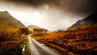 The single track road down Glen Etive leading to Loch Etive, Highlands of Scotland.