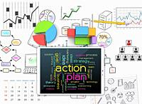 Sketches visions and plans for successful business.