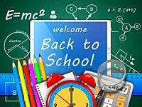 Welcome back to school. School supplies on blackboard background.