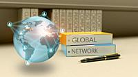 3D Illustration technology abstract background, concept of global network business.