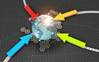 3D Illustration technology abstract background, concept of traffic global network business.