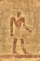 Reliefs, Chapel of Anubis, Hatshepsut Mortuary Temple (Deir el-Bahri), UNESCO World Heritage Site, Luxor, Egypt