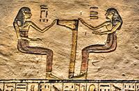 Reliefs, Tomb of Ramses V & VI, KV9, Valley of the Kings, UNESCO World Heritage Site, Luxor, Egypt