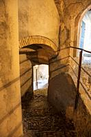 An old passage at pilgrimage village of Santa Maria del Monte on Sacro Monte di Varese, UNESCO World Cultural Heritage Site, Santa Maria del Monte, Va...