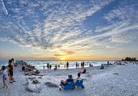 Sunset at North Jetty Beach on the Gulf of Mexico in Nokomis Florida United States.