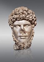 Roman statue of Emperor Lucius Verus . Marble. Perge. 2nd century AD. Inv no 2010/539 . Antalya Archaeology Museum; Turkey.