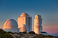 "Telescopes at the """"Observatorio del Teide"""" (OT), Astronomical Observatory, Las Cañadas del Teide National Park, Tenerife, Canary Islands, Spain."