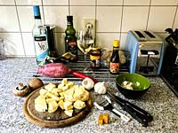 Tilburg, Netherlands. Preparing a Good Evening's Diner during the Corona Outbreak Lock Down.