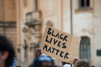 Flash mob against racism in Lecce, Italy: Black lives matter.