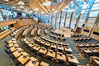Debating chamber of Scottish Parliament Building in Holyrood area of Edinburgh, capital of Scotland, part of United Kingdom.
